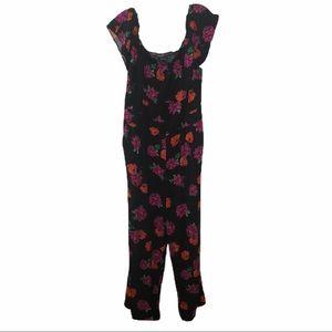 Torrid Black Floral Ruffle Jumpsuit 1X